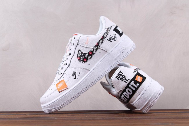 """Femme/Homme Nike Air Force 1 Low """"Just Do It"""" Blanc"""