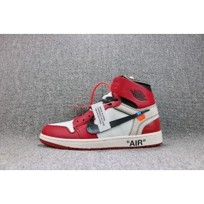 Homme OFF-WHITE x Air Jordan 1 Noir/Blanc/Rouge