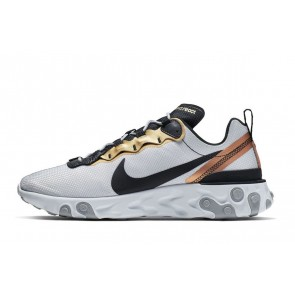 Femme/Homme Nike React Element 55 Blanc/Golden