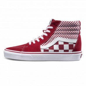 Femme/Homme Vans Mix Checker Sk8-Hi Rouge