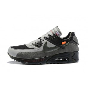 Homme OFF-WHITE x Nike Air Max 90 OW Noir/Gris